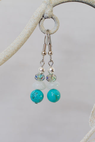 Turquoise, Moonstone & Crystal Dangle Earrings