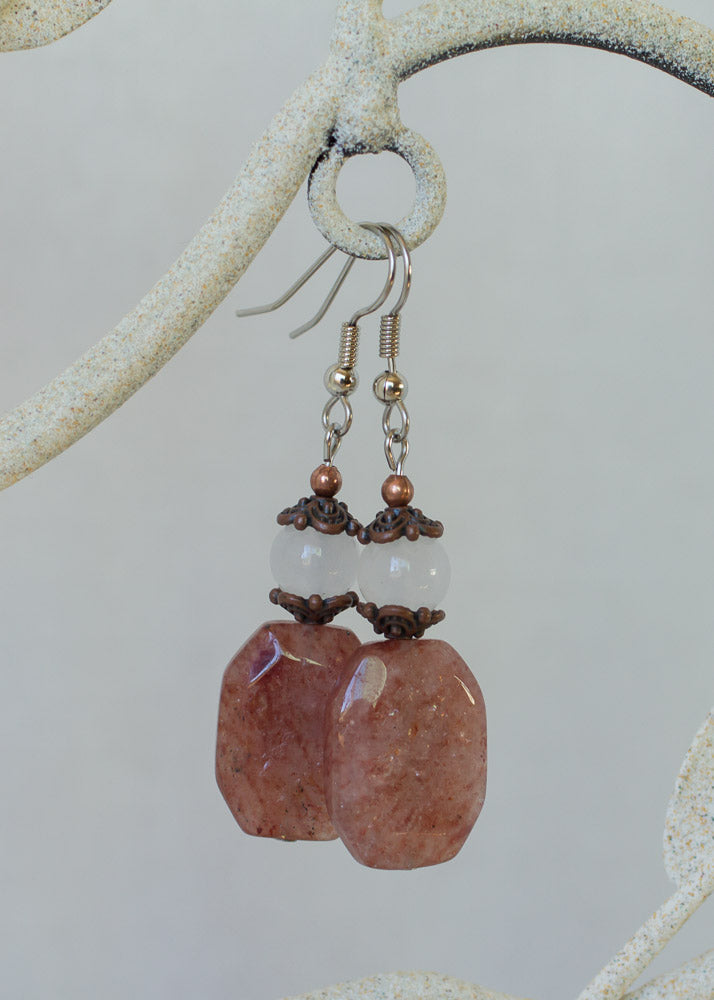 Muscovite, White Jade & Copper Dangle Earrings