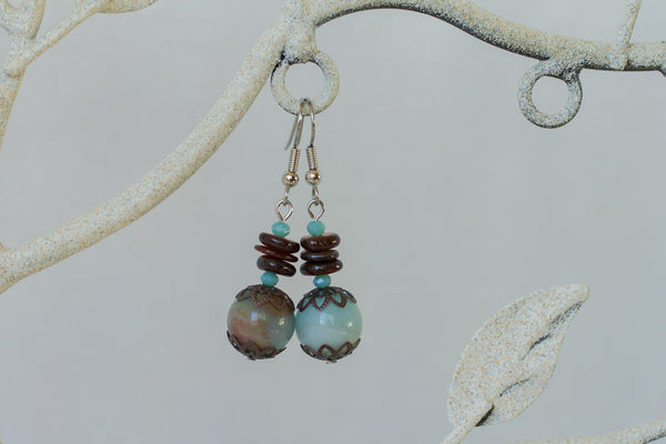 Amazonite with Brown Shell & Copper Dangle Earrings