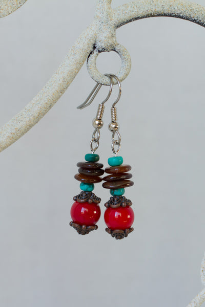 Coral, Brown Shell, Turquoise & Copper Dangle Earrings