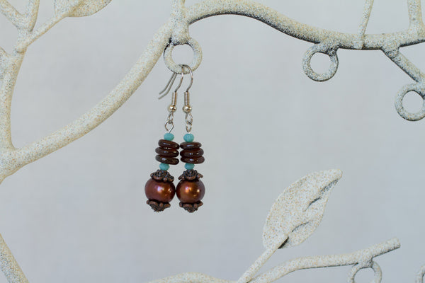 Chocolate Brown Freshwater Pearl, Shell, Turquoise Crystal & Copper Dangle Earrings