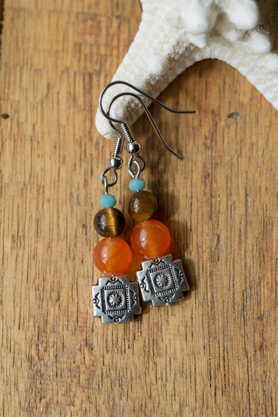 Southwestern Orange, Tiger Eye & Turquoise Crystal Dangle Earrings