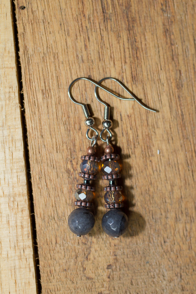 Grey Agate, Crystal & Copper Dangle Earrings