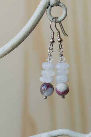 Pink Flower Tourmaline Dangle Earrings with Moonstone & Swarovski Crystal Beads
