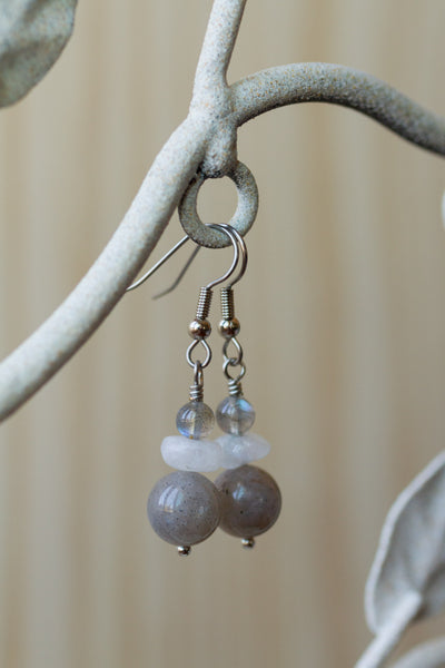 Labradorite & Moonstone Dangle Earrings