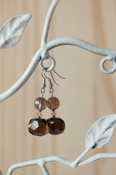 Smoky Quartz & Crystal Dangle Earrings