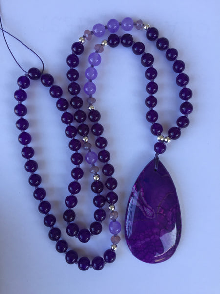 "Custom Donna ~ 30"" Long Purple Dragon Vein Agate Pendant Necklace"