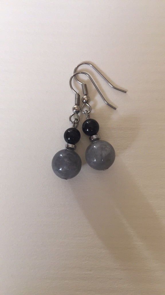 Grey Quartz Earring ~ Custom Rose
