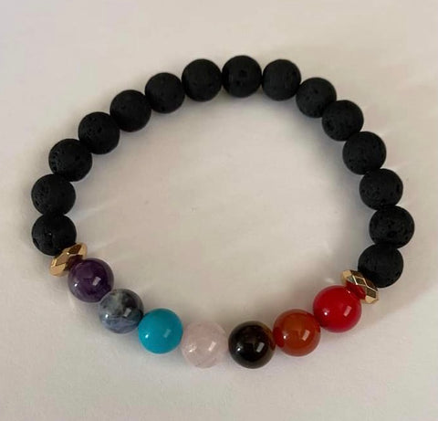 Custom Order Chakra Stretchy Bracelet with Lava Stone