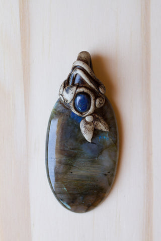 Labradorite Gemstone Polymer Clay Pendant with Blue Lapis