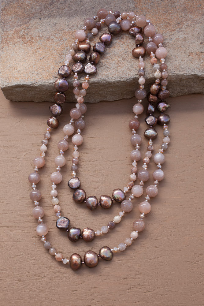 "60"" Sunstone, Moonstone and Freshwater Pearl Necklace"