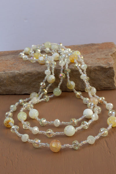 "60"" Lemon Cracked Agate & Crystal Necklace"