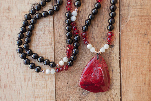 "28"" Red Dragon Vein Agate Pendant Necklace with Onyx, Mother of Pearl & Red Crystals"