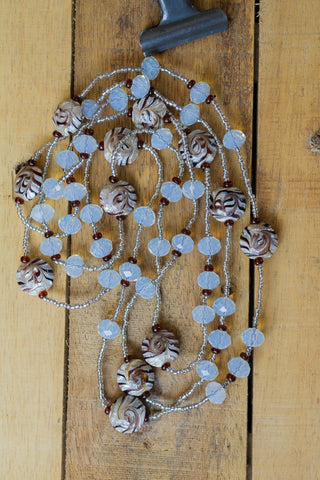 "60"" Long Brown Metallic Swirl Glass & Milky Crystal Beaded Necklace"