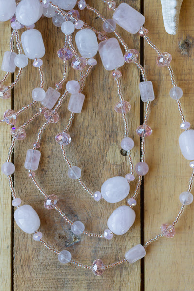 "60"" Extra Long Beaded Pale Pink Rose Quartz & Crystal Necklace"