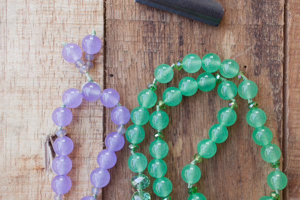 "30"" Green/Purple Agate Pendant Necklace with Green Aventurine, Lavender Jade & Crystals"