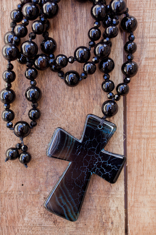 "28"" Black Agate Cross Pendant Necklace with Onyx & Crystals"