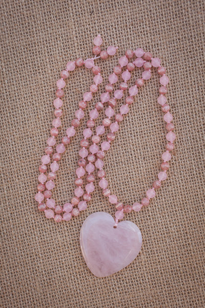 "31"" Rose Quartz Heart Pendant Necklace with Pink Malay Jade & Rhodochrosite"