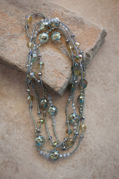 "68"" Olive & Grey Crystal Beaded Necklace"