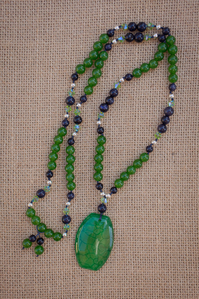 "30"" Green Dragon Vein Agate Pendant Necklace with Blue Sandstone, Green Jade & Swarovski Crystals"