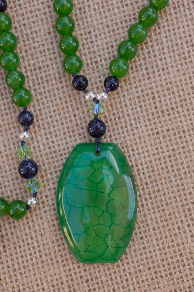 stunning green dragon vein agate pendant necklace with blue sandstone beads