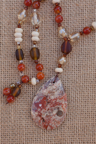"31"" Ayaka Agate Pendant Necklace with Red Stripes Agate & Glass"
