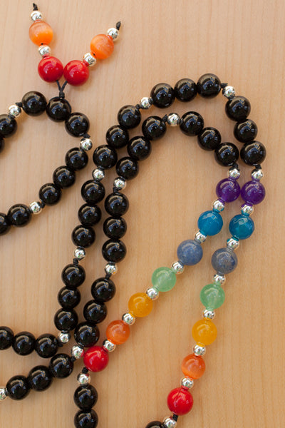 "30"" Multi Gemstone Chakra Inspired Necklace with Black Onyx"