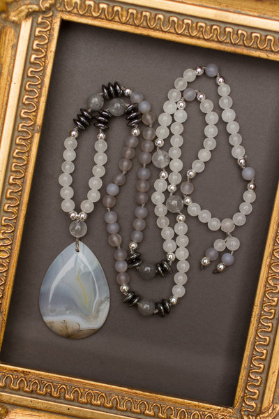 "30"" Dendritic Agate Pendant Necklace with White & Grey Agate"