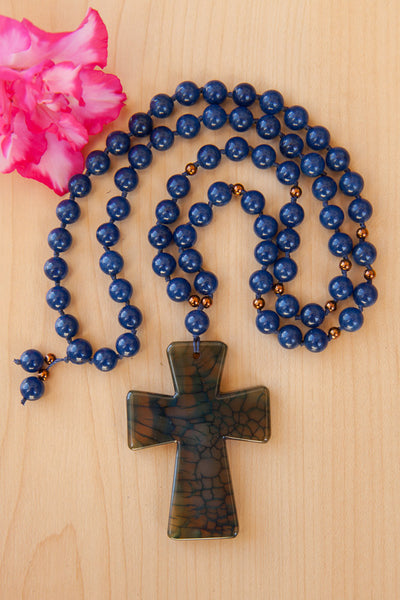 "28"" Long Blue Dragon Vein Agate Cross Beaded Necklace with Sapphire Blue Quartz & Copper Beads"