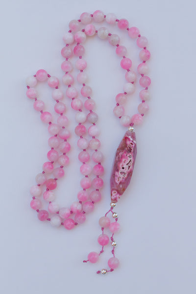pink dragon vein agate pendant necklace with pink and white malaysia jade