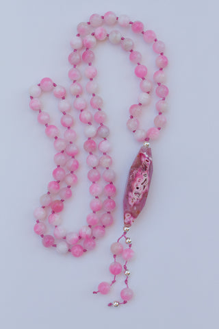 "30"" Pink Dragon Vein Agate Pendant Necklace with Malaysia Jade"