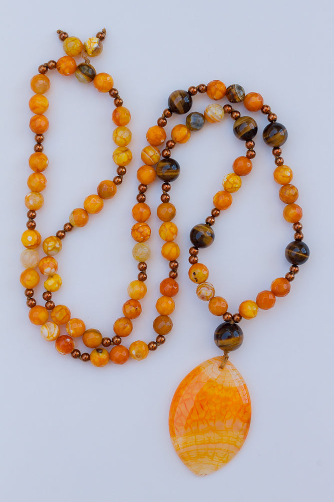 "30"" Orange Dragon Vein Agate Pendant Necklace with Agate & Tiger Eye"