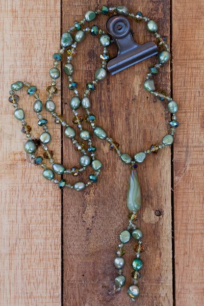 "29"" Green Pearl & Crystal Dangle Necklace"