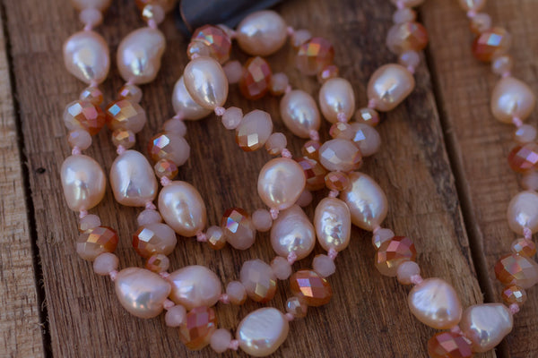 "29"" Peach Pearl & Crystal Dangle Necklace"