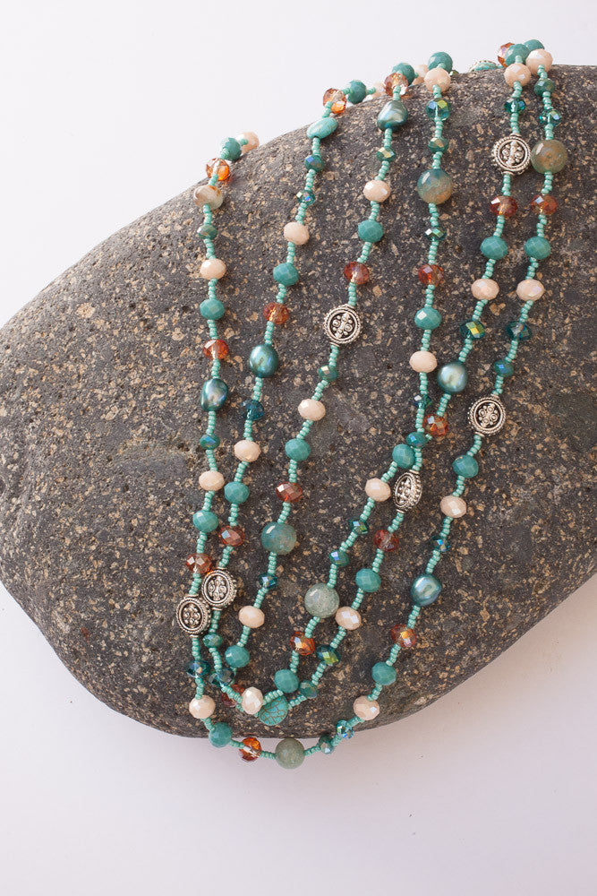 "60"" Multi-colored Turquoise & Cream Necklace"