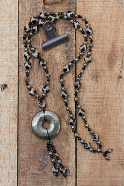 "30"" Pyrite Donut Dangle Necklace with Agate, Pyrite & Crystals"