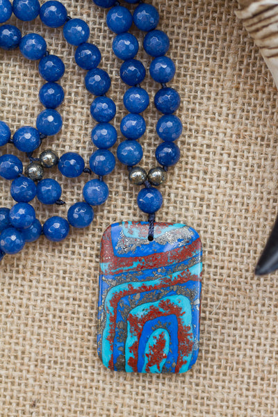 "30"" Turquoise, Pyrite Matrix Pendant Necklace with Blue Agate, Carnelian, Turquoise & Pyrite"