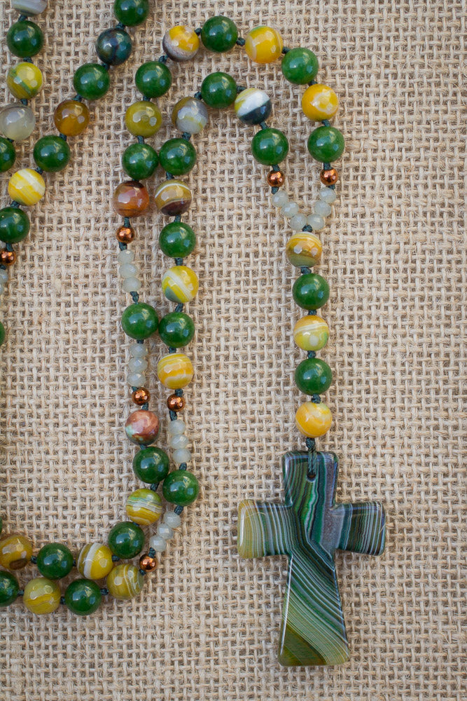 "29"" Long Green Stripes Agate Cross Pendant Necklace with Stripes Agate, Jade & Copper Beads"