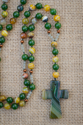 "29"" Green Stripes Agate Cross Pendant Necklace with Stripes Agate, Jade & Copper"