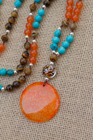 "30"" Orange Dragon Vein Agate Pendant Necklace with Turquoise, Orange Jade, Tiger Eye & Art Glass"