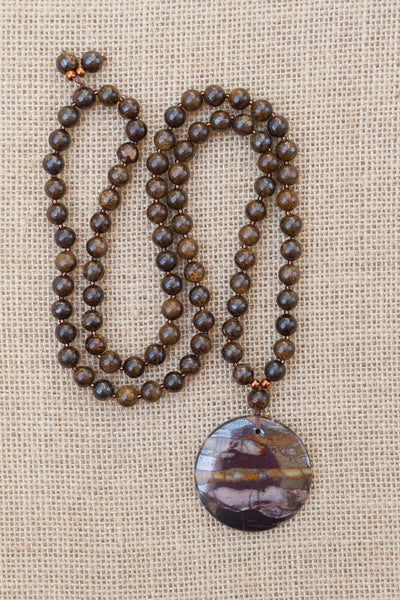 "30"" Tiger Iron Pendant Necklace with Bronzite"