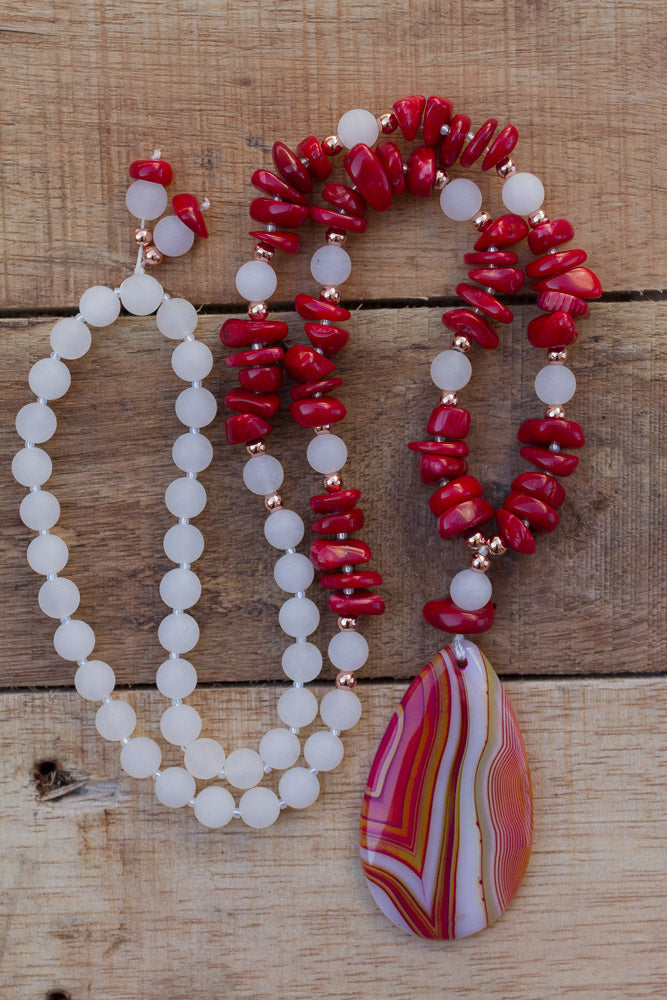 "30"" Red Stripes Agate Pendant Necklace with Coral & White Jade"