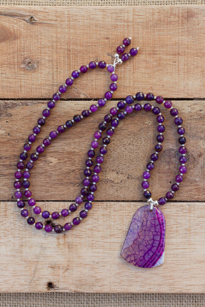 "30"" Purple Dragon Vein Agate Pendant Necklace with Agate"