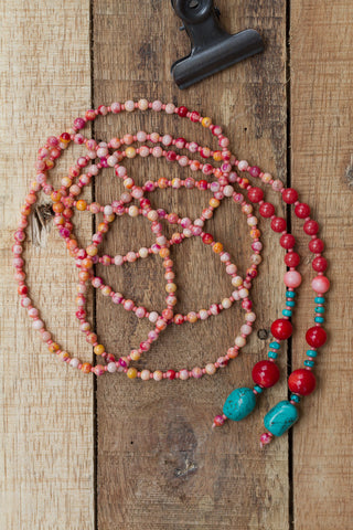"51"" Jade Necklace with Coral & Turquoise"