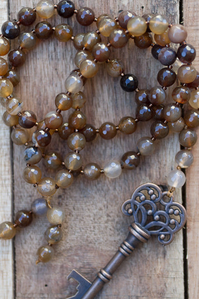 "30"" Brown Coffee Color Faceted Agate Beaded Necklace with Bronze Color Key"