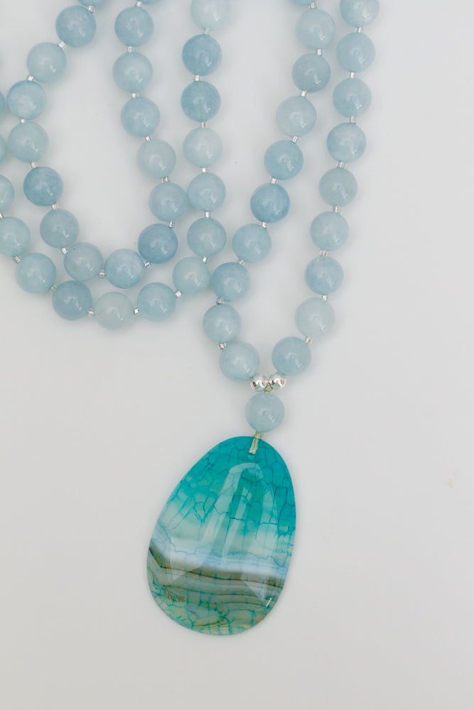 "29"" Long Aqua Blue Agate Pendant Necklace with Sky Blue Jade Beads"