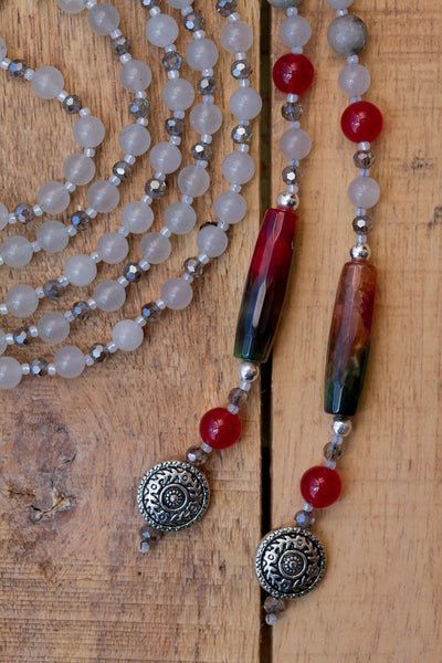 "64"" Long Dragon Vein Agate Column Bead Lariat / Y Style Beaded Necklace with Grey Agate & Red Jade"