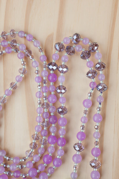 "60"" Extra Long Lariat Style Beaded Necklace with Lavender Quartz & Green Chalcedony"