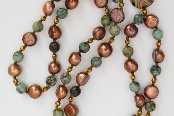 "30"" Long Chocolate Pearl & African Turquoise Dangle Beaded Necklace"