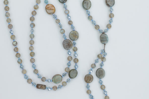 "34"" Long Dangle Beaded Necklace with Labradorite & Crystal Beads"